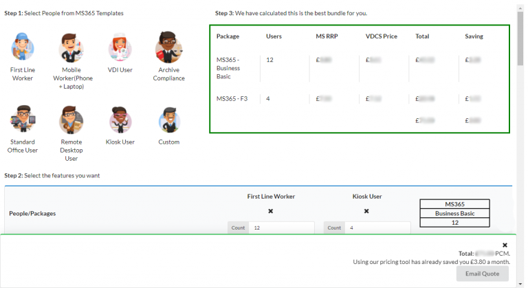 Microsoft 365 pricing tool